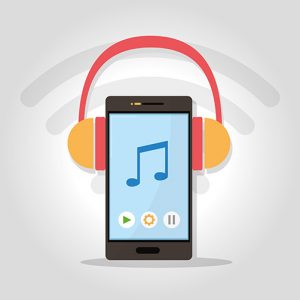 Listen music with smartphone vector illustration graphic design